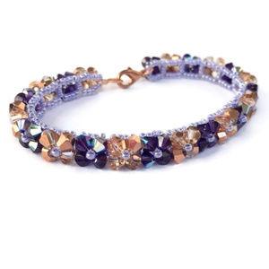Jewelry - Handmade Purple & Copper Woven Crystal Bracelet